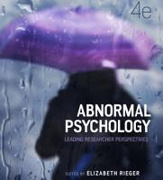 Abnormal Psychology  Leading researcher perspectives  4th Edition PDF