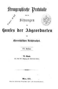 Stenographische Protokolle des Abgeordnetenhauses des Reichsrathes PDF