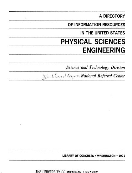 A Directory of Information Resources in the United States  Physical Sciences  Engineering PDF