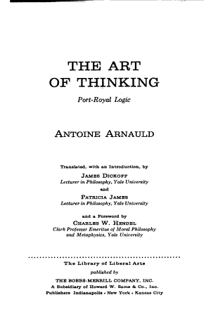 The Art of Thinking  Port Royal Logic PDF