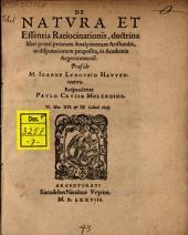 De natura et essentia ratiocinationis, doctrina libri primi priorum Analyticorum Aristotelis