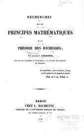 Recherches sur les principes mathématiques de la théorie des richesses