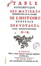 Table Des Matieres De L'Histoire  Des Voyages, D-K