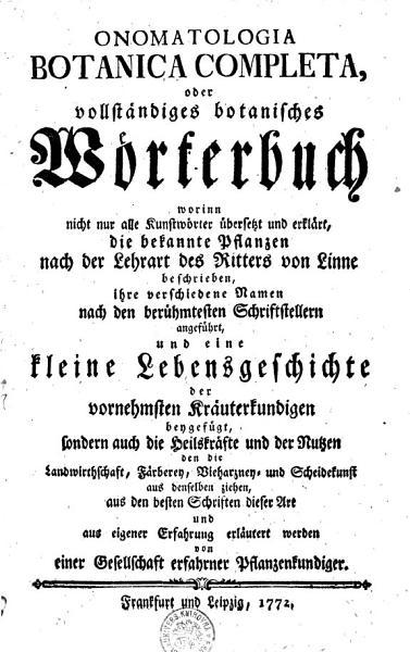 ONOMATOLOGIA BOTANICA COMPLECTA oder Vollst  ndige botanisches W  rterbuch PDF