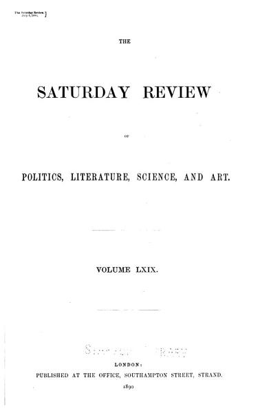 Download The Saturday Review of Politics  Literature  Science and Art Book