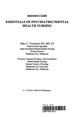 Essentials of Psychiatric and Mental Health Nursing PDF