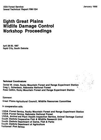 Great Plains Wildlife Damage Control Workshop Proceedings PDF
