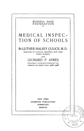 Medical Inspection of Schools PDF