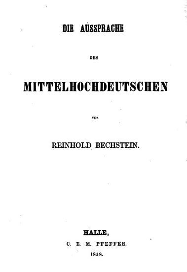 Die Aussprache des Mittelhochdeutschen PDF
