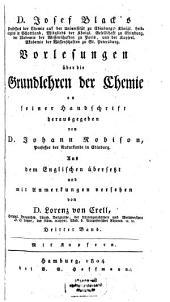 Vorlesungen über die Grundlehren der Chemie: in vier Bänden, Band 3