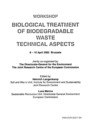 Biological Treatment Of Biodegradable Waste Technical Aspects