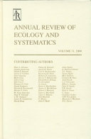 Annual Review of Ecology and Systematics PDF