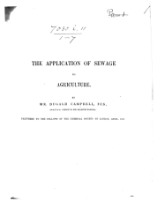 The Application of Sewage to Agriculture   Reprinted from    The Engineer      PDF