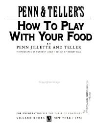 Penn   Teller s how to Play with Your Food PDF