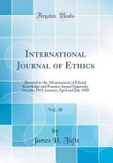 International Journal of Ethics  Vol  30 PDF