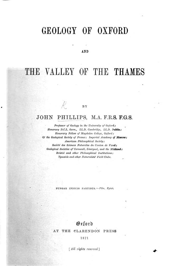 Geology of Oxford and the Valley of the Thames. [With illustrations.]