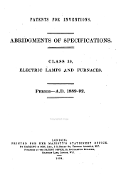 Patents for Inventions, Abridgments of Specifications: Electric lamps and furnaces