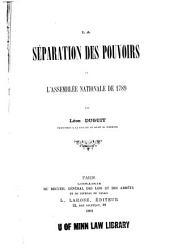 La séparation des pouvoirs et l'Assemblée nationale de 1789