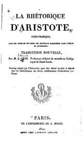 La rhétorique d'Aristote: grec-français, avec des notes et un index des morceaux parellèles dans Ciceron et Quintilien