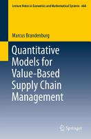Quantitative Models for Value Based Supply Chain Management PDF