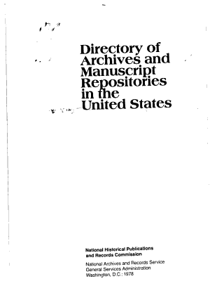 Directory of Archives and Manuscript Repositories in the United States PDF