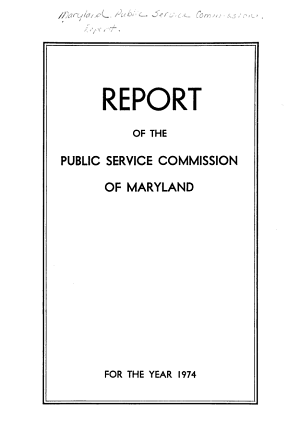 Report of the Public Service Commission of Maryland PDF