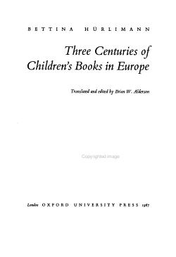 Three Centuries of Children s Books in Europe PDF