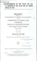 Accomplishments of the Clean Air Act, as Amended by the Clean Air Act Amendments of 1990