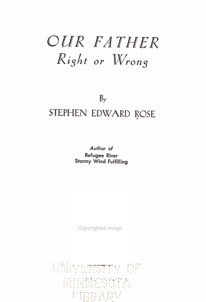 Our Father  Right Or Wrong PDF