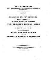 De Charklensi Novi Testamenti translatione Syriaca commentatio: Volume 4, Part 1