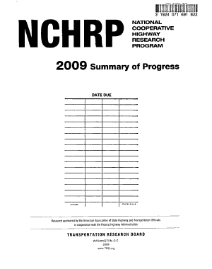Summary of Progress   National Cooperative Highway Research Program PDF
