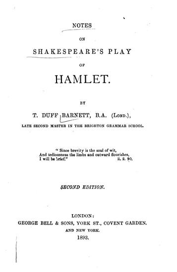 Notes on Shakespeare s Play of      Hamlet  2nd ed PDF