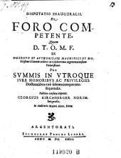 Disputatio Inauguralis De Foro Competente ... exponit Georgius Kirchberger (etc.)
