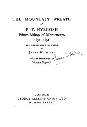 The Mountain Wreath of P.P. Nyegosh