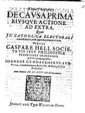 Theses Philosophicae de causa prima, eiusque actione ad extra