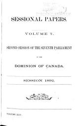 Sessional Papers of the Dominion of Canada: Volume 7; Volume 25, Issue 7