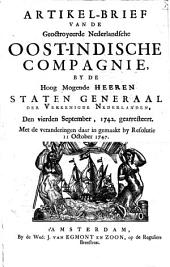Artikel-brief van de Geoctroyeerde Nederlandsche Oost-Indische Compagnie, by de Hoog Mogende Heeren Staten-Generaal der Vereenigde Nederlanden, den vierden September, 1742, gearresteert: met de veranderingen daar in gemaakt by Resolutie dan 11 Oct. 1747