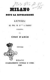 Milano dopo la rivoluzione lettera al sig. H.D. a Parigi