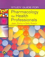 Study Guide for Pharmacology for Health Professionals PDF