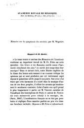 Mémoire sur la symphonie des anciens; par M. Wagener