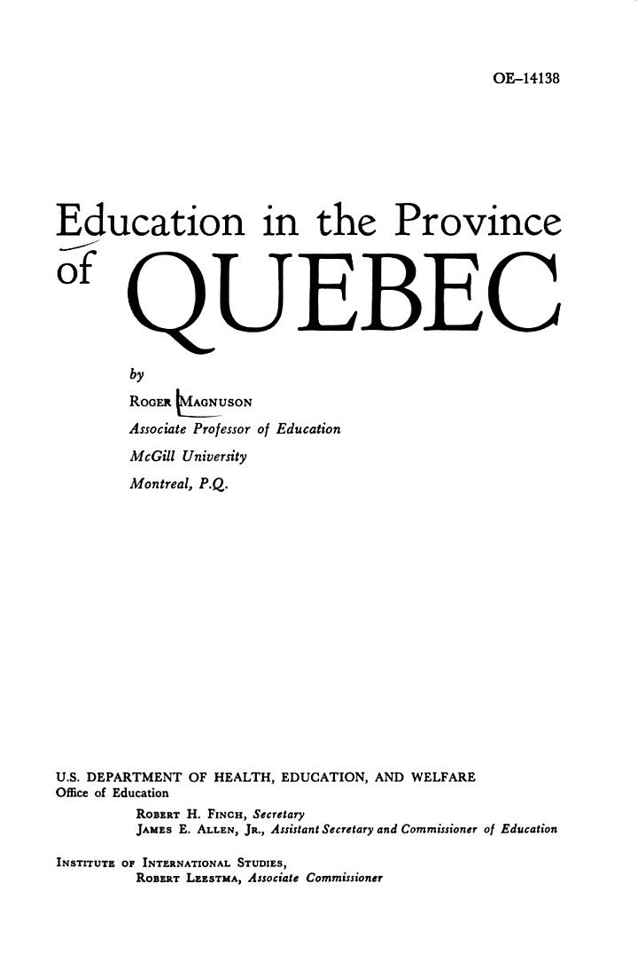 Education in the Province of Quebec