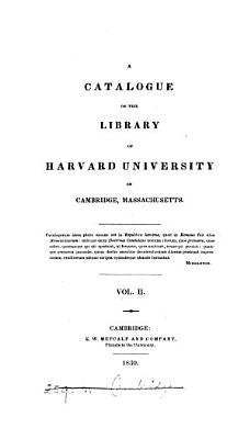 A catalogue of the library of Harvard university PDF