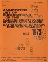 Publications of the Pacific Northwest Forest and Range Experiment Station PDF