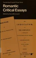 Romantic Critical Essays PDF