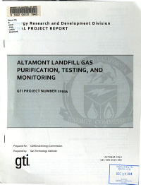 Altamont Landfill Gas Purification, Testing, and Monitoring