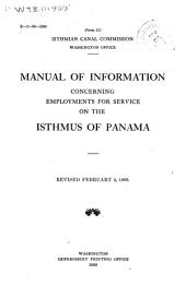 Manual of Information Concerning Employments for Service on the Isthmus of Panama