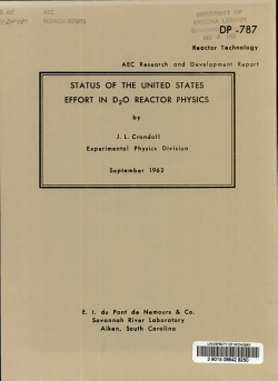 Status of the United States Effort in D2O Reactor Physics PDF