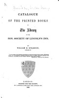 Catalogue of the Printed Books in the Library of the Hon  Society of Lincoln s Inn PDF