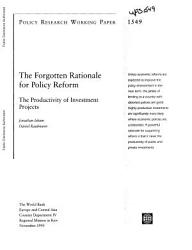 The Forgotten Rationale For Policy Reform Book PDF