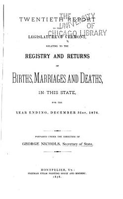 Report     Relating to the Registry and Returns of Birth  Marriages  Deaths and Divorces in the State     PDF